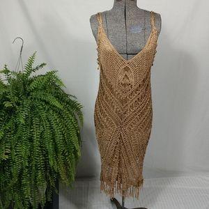 Golden brown crocheted sheath dress 😍